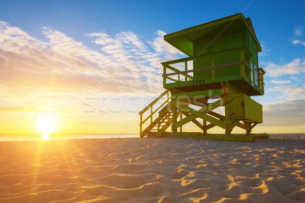 Miami sul praia nascer do sol salva-vidas torre Foto stock © vwalakte