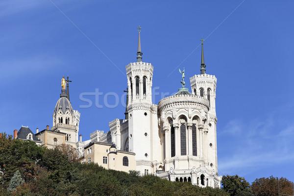 Lyon híres bazilika nagy kék ég épület Stock fotó © vwalakte