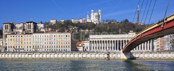 Panorámakép kilátás folyó Lyon Franciaország épület Stock fotó © vwalakte
