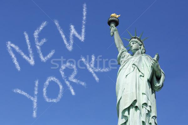 New York égbolt híres szobor hörcsög különleges Stock fotó © vwalakte
