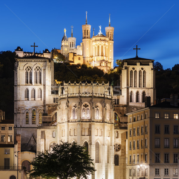 Cathedral of St. Jean and The Basilica Notre Dame de fourviere i Stock photo © vwalakte