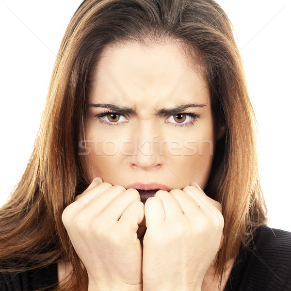 Beautiful Woman fear afraid anxious Stock photo © vwalakte