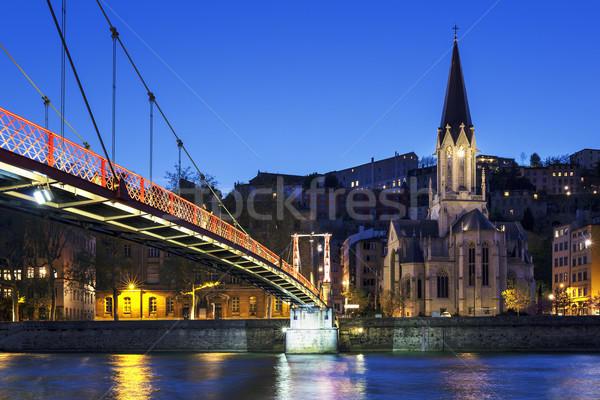 footbridge and church Stock photo © vwalakte