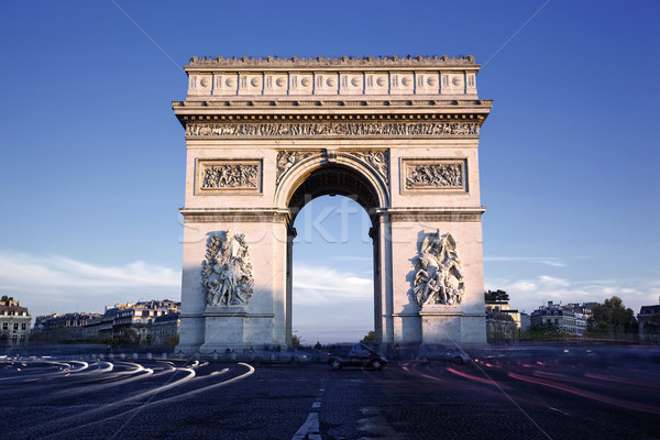 Horizontal view of famous Arc de Triomphe Stock photo © vwalakte