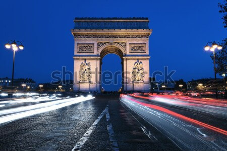 Триумфальная арка ночь Париж Франция закат улице Сток-фото © vwalakte
