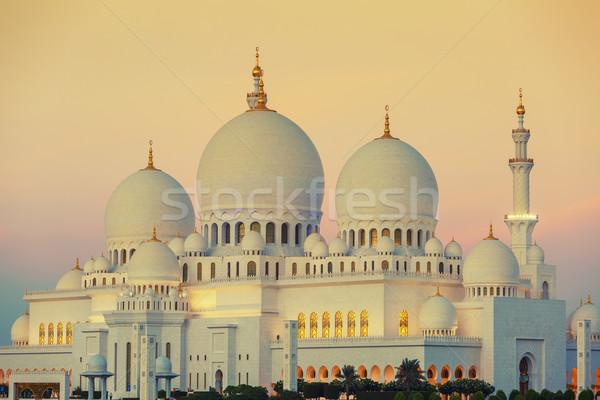 мечети закат Абу-Даби небе дерево дизайна Сток-фото © vwalakte