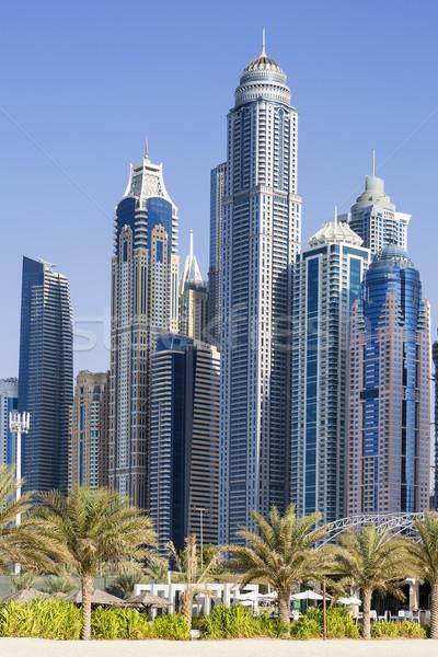 Vertical vue gratte-ciel palmiers Dubaï plage Photo stock © vwalakte