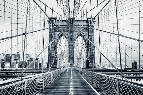 Blanc noir pont New York City Manhattan gratte-ciel Photo stock © vwalakte