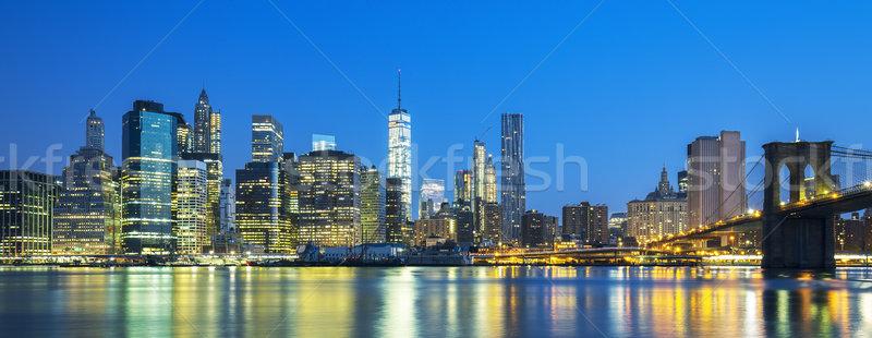 パノラマ 表示 ニューヨーク市 マンハッタン 夕暮れ 高層ビル ストックフォト © vwalakte
