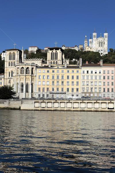 Rhone river and basilica Stock photo © vwalakte