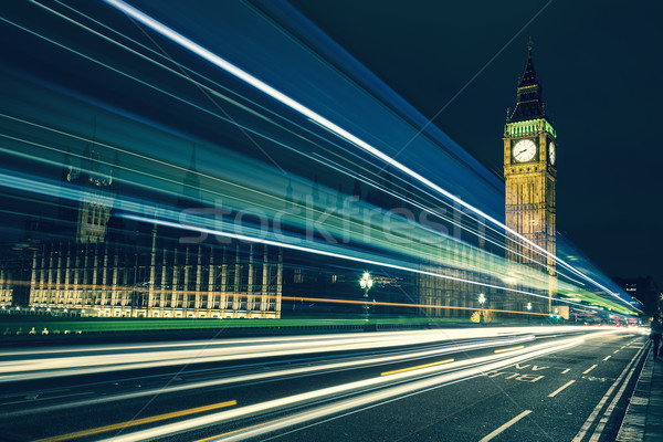 Big Ben and lights of the cars passing by Stock photo © vwalakte