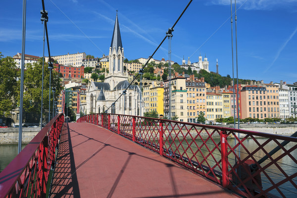 View of Lyon city from red footbridge Stock photo © vwalakte
