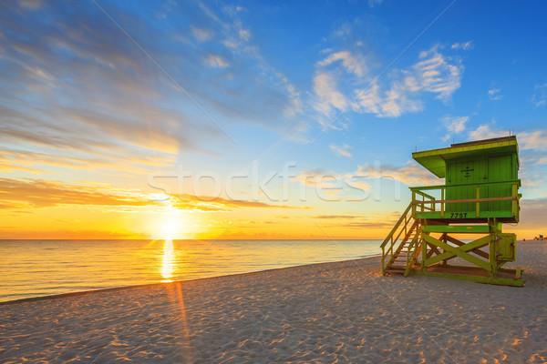 マイアミ 南 ビーチ 日の出 ライフガード 塔 ストックフォト © vwalakte