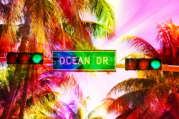 Ocean drive sign and traffic light  Stock photo © vwalakte