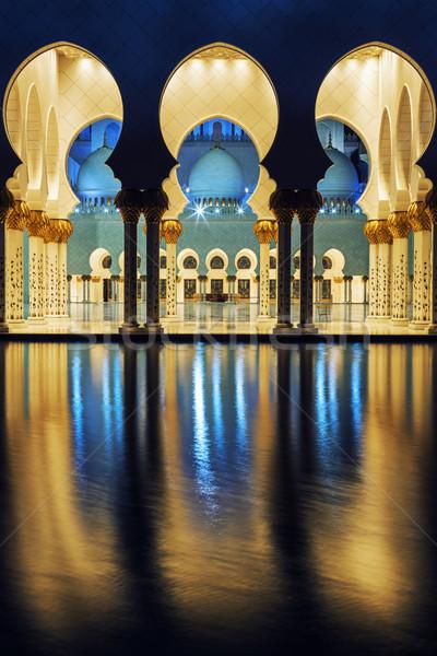 мечети ночь известный Абу-Даби путешествия религии Сток-фото © vwalakte