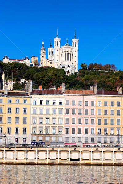 Híres kilátás Lyon folyó Franciaország égbolt Stock fotó © vwalakte