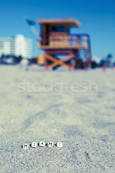 Maimi Southbeach, lifeguard house with letters on the sand Stock photo © vwalakte