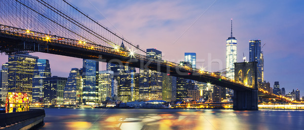 Brooklyn Bridge at dusk Stock photo © vwalakte