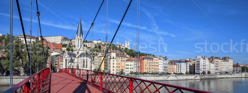 Lyon cidade vermelho passarela rio panorâmico Foto stock © vwalakte