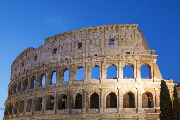 Coliseo noche Roma Italia viaje ladrillo Foto stock © vwalakte