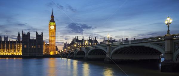 Panoramique vue Big Ben horloge tour coucher du soleil Photo stock © vwalakte