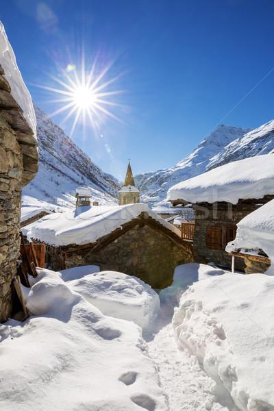 öreg falu tél Franciaország égbolt nap Stock fotó © vwalakte