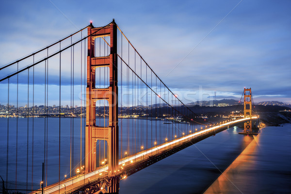 Beroemd Golden Gate Bridge San Francisco Californië USA metaal Stockfoto © vwalakte