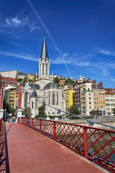 Lyon city with famous red footbridge Stock photo © vwalakte