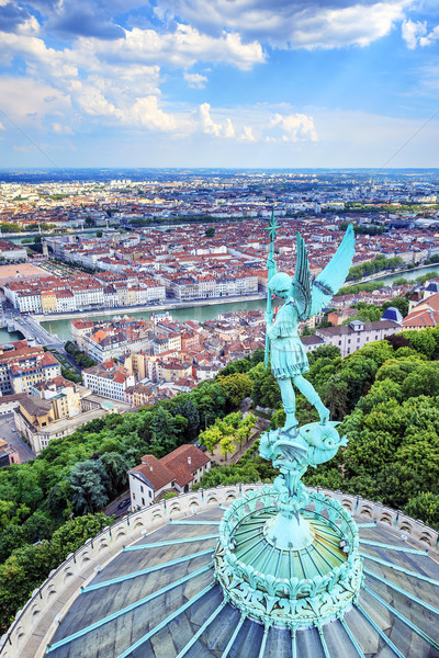 Vertical view of Lyon from the top of Notre Dame de Fourviere Stock photo © vwalakte