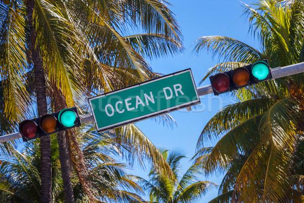 Stock fotó: Jelzőtábla · híres · utca · óceán · vezetés · Miami