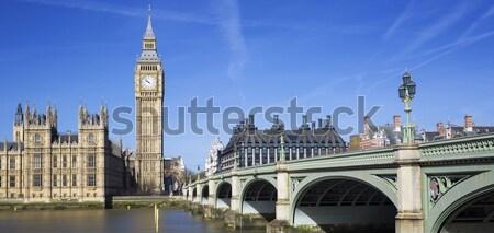 Panorámakép kilátás Big Ben házak parlament London Stock fotó © vwalakte