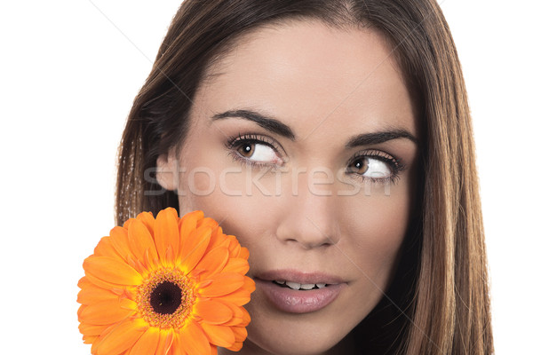 Beautiful woman portrait with flower Stock photo © vwalakte