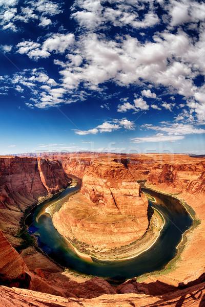 Függőleges kilátás patkó kanyar Utah USA Stock fotó © vwalakte