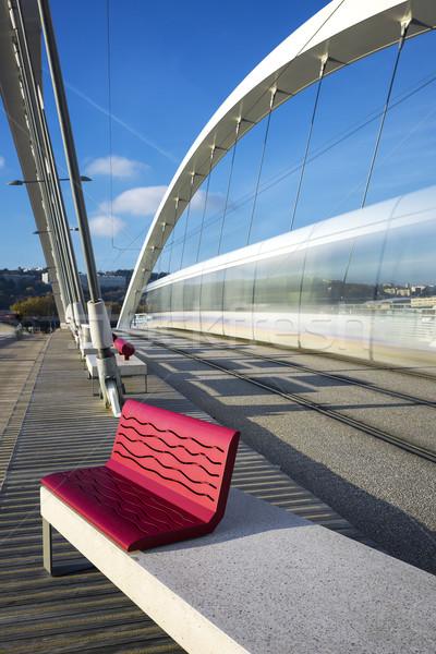 View of tramway crossing a bridge Stock photo © vwalakte