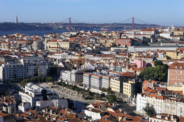 Famoso ver Lisboa vermelho ponte Portugal Foto stock © vwalakte