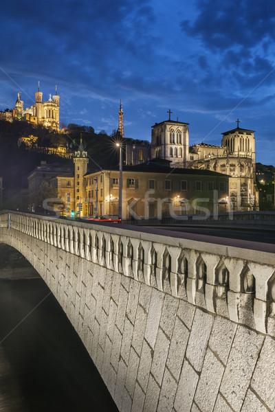 éjszaka kilátás Lyon éjszakai város város katedrális Stock fotó © vwalakte