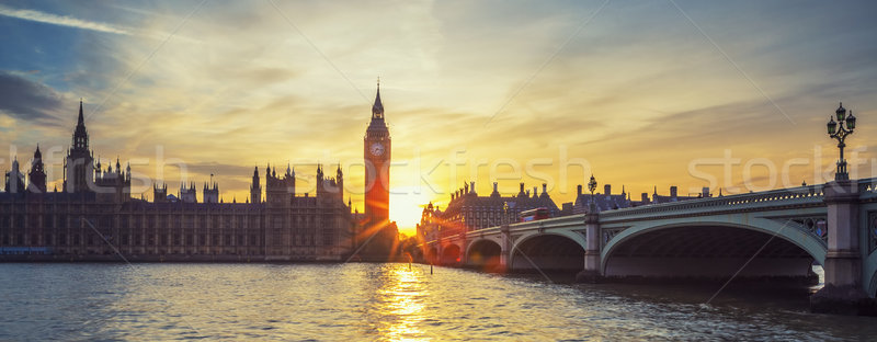 Panoramic view of Big Ben at sunset. Stock photo © vwalakte