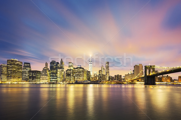 View of New York City Manhattan midtown at dusk Stock photo © vwalakte
