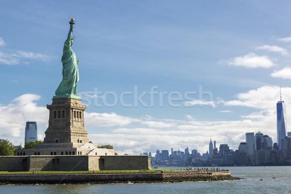 Szobor hörcsög New York sziluett USA égbolt Stock fotó © vwalakte