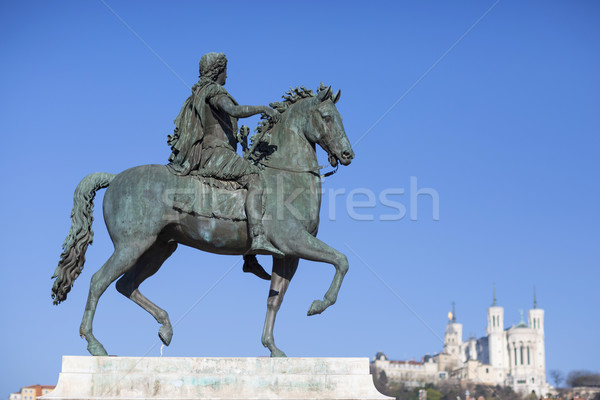 View of famous statue and Basilica in Lyon Stock photo © vwalakte