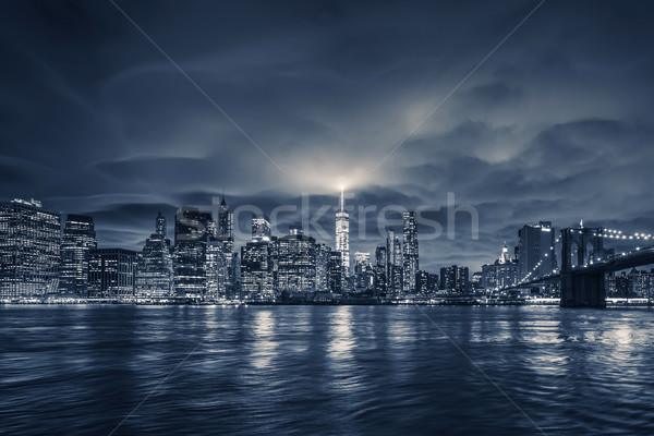 Görmek Manhattan gece New York Bina mavi Stok fotoğraf © vwalakte