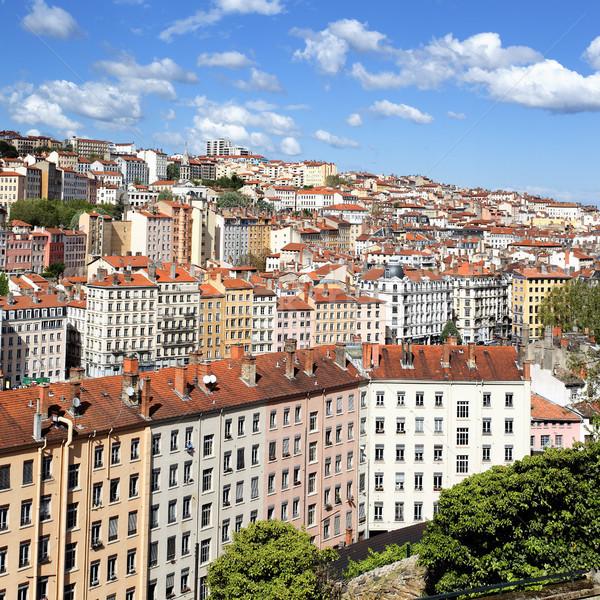 Híres színes Lyon kerület nyár nap Stock fotó © vwalakte