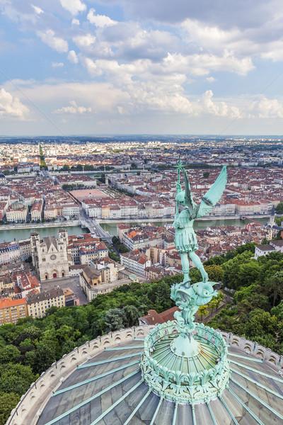 Légifelvétel Lyon felső hölgy templom utazás Stock fotó © vwalakte