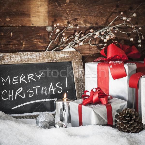 Karácsony tér közelkép ajándékok gyertya absztrakt Stock fotó © vwalakte