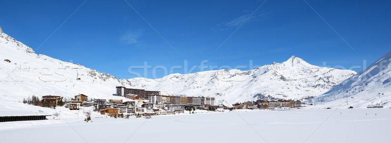 Panoramic view of Tignes village Stock photo © vwalakte
