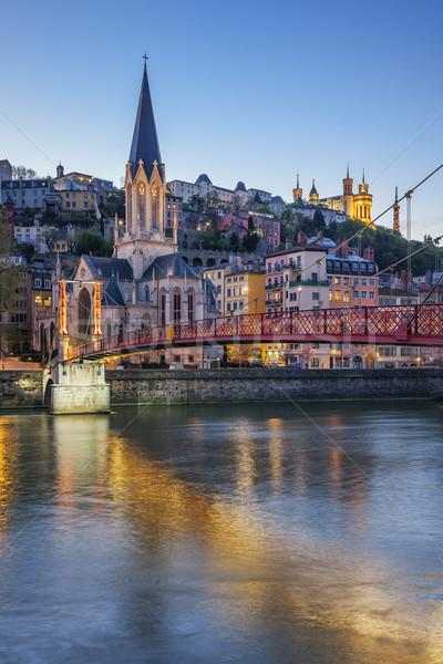 Vertical vue Lyon rivière nuit ciel Photo stock © vwalakte