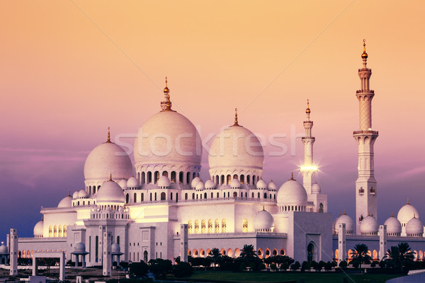 Abu Dhabi Sheikh Zayed Mosque at sunset Stock photo © vwalakte