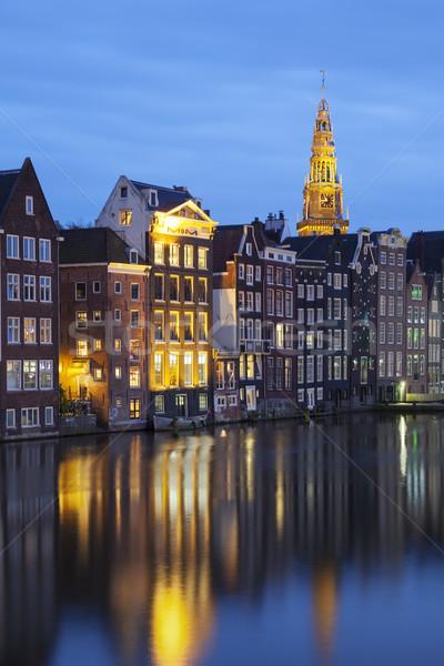 épületek Amszterdam kilátás hagyományos öreg tavasz Stock fotó © vwalakte