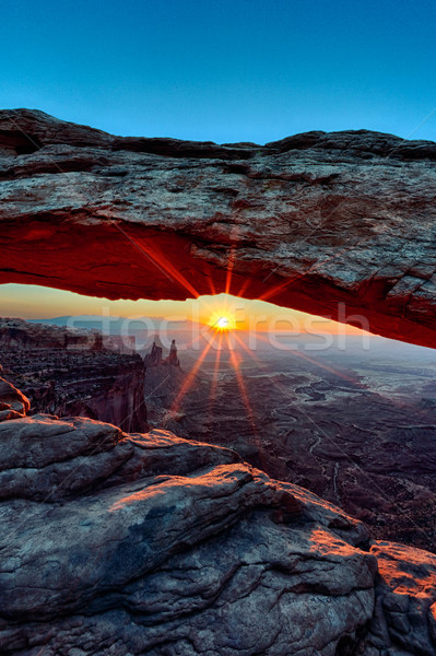 vertical view of Sunrise at Mesa Arch  Stock photo © vwalakte