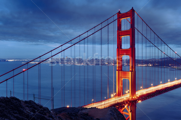 Night scene with famous Golden Gate Bridge Stock photo © vwalakte